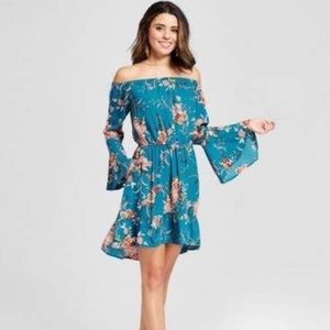 Xhilaration Off Shoulder Teal Floral Dress Size XL